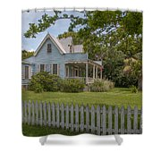 White Pickett Fence Shower Curtain