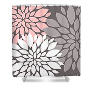 White Pink Gray Peony Flowers Shower Curtain
