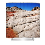 White Pocket 3 Shower Curtain