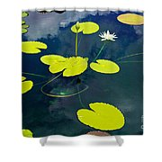 White Pond Lily Shower Curtain