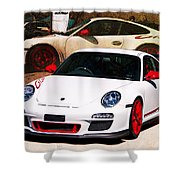 White Porsche Gt3rs Shower Curtain