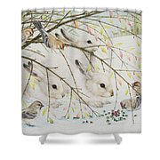 White Rabbits Shower Curtain