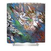 White Rabbits On The Run Shower Curtain