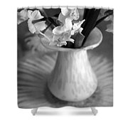 White Rays And Flowers Shower Curtain