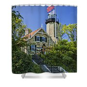 White River Lighthouse In Whitehall Michigan No.057 Shower Curtain
