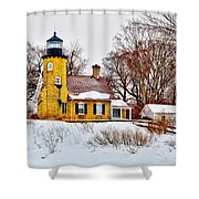 White River Winter Panoramic Shower Curtain