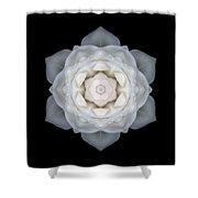 White Rose I Flower Mandala Shower Curtain
