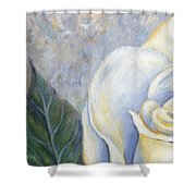 White Rose One Panel One Of Four Shower Curtain