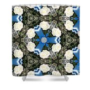 White Roses And Babys Breath Kaleidoscope Shower Curtain