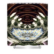 White Roses And Babys Breath Polar Coordinates Effect Shower Curtain