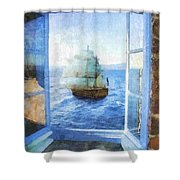 White Sails Shower Curtain