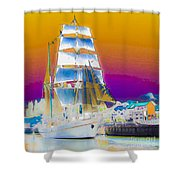 White Sails Ship And Colorful Background Shower Curtain
