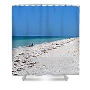 White Sandy Beach Shower Curtain