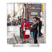 White Shopping Bag Shower Curtain