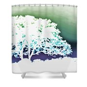 White Silhouette Of Oak Tree Against Blue And Green Watercolor Background Shower Curtain