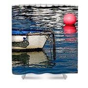 White Skiff - Lyme Regis Harbour Shower Curtain