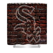 White Sox Baseball Graffiti On Brick  Shower Curtain by Movie Poster Prints