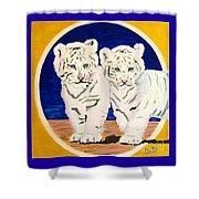 White Tiger Twins Shower Curtain