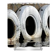 White Tires Shower Curtain