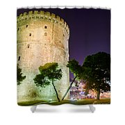 White Tower In Salonica Greece Shower Curtain