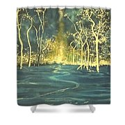 White Trees In The Blue Woods Shower Curtain by Stefan Duncan