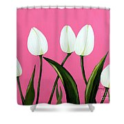 White Tulips On Pink Shower Curtain