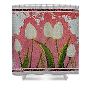 White Tulips On Pink In Stained Glass Shower Curtain