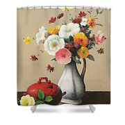 White Vase And Red Box Shower Curtain