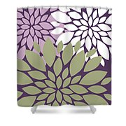 White Violet Green Peony Flowers Shower Curtain
