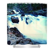 White Water On The Ohanapecosh River  Shower Curtain