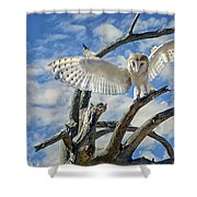 White Wide Wings Shower Curtain
