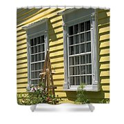 White Windows Yellow Wall Shower Curtain