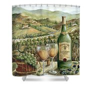 White Wine Lovers Shower Curtain by Marilyn Dunlap