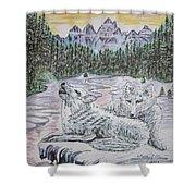 White Wolves Shower Curtain