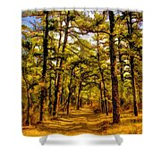 Whitebog Village Woods In New Jersey  Shower Curtain