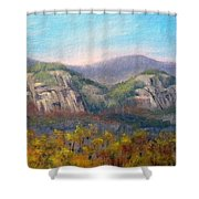 Whitehorse And Cathedral Ledges From The Red Jacket Inn Shower Curtain