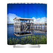 Whites And Blues Shower Curtain