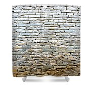 Whitewash Old Stone Wall Shower Curtain