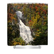 Whitewater Falls With Fall Leaves - North Carolina Waterfalls Series Shower Curtain