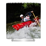 Whitewater Open Canoe Race Shower Curtain