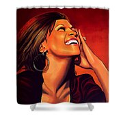 Whitney Houston Shower Curtain by Paul Meijering