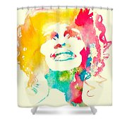 Whitney Houston Watercolor Canvas Shower Curtain