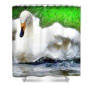 Whooper Swan Flutter Shower Curtain