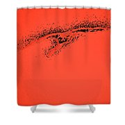 Whooper Swan Red Abstract Shower Curtain