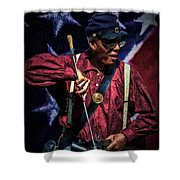 Wi Colored Infantry Sharpshooter - Oil Shower Curtain
