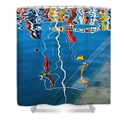 Wibbly Wobbly Flagpole Reflections Shower Curtain