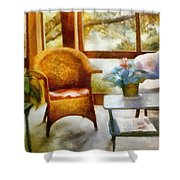 Wicker Chair And Cyclamen Shower Curtain