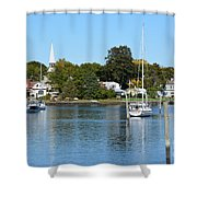 Wickford Village Waterfront Shower Curtain