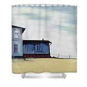 Wide Blue Shower Curtain