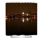 Wide Shot Of The City Skyline Shower Curtain